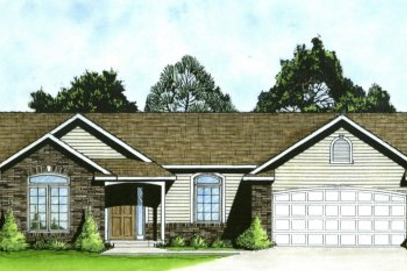Ranch Style House Plan - 2 Beds 2 Baths 1218 Sq/Ft Plan #58-161 Exterior - Front Elevation