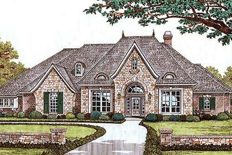 European Exterior - Front Elevation Plan #310-540 - Houseplans.com