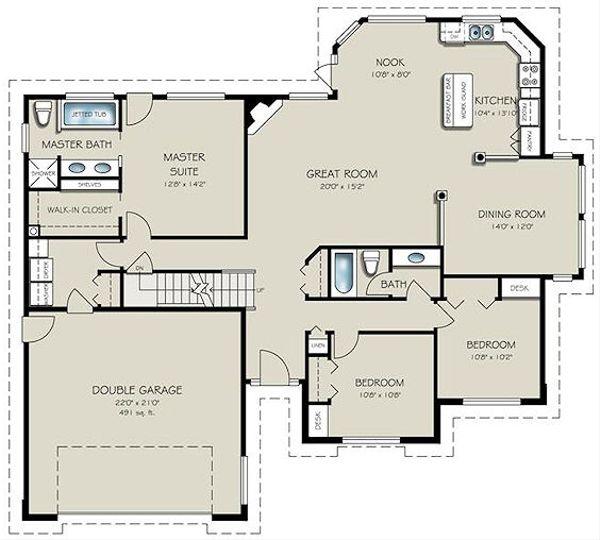 Ranch Floor Plan - Main Floor Plan Plan #18-2004