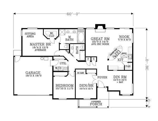 Craftsman Floor Plan - Main Floor Plan Plan #53-546