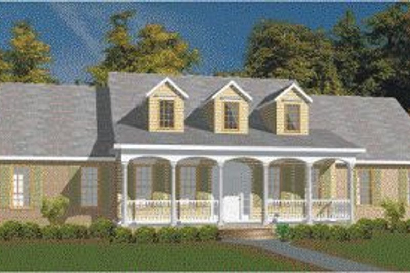 Southern Style House Plan - 3 Beds 2.5 Baths 2773 Sq/Ft Plan #63-104 Exterior - Front Elevation