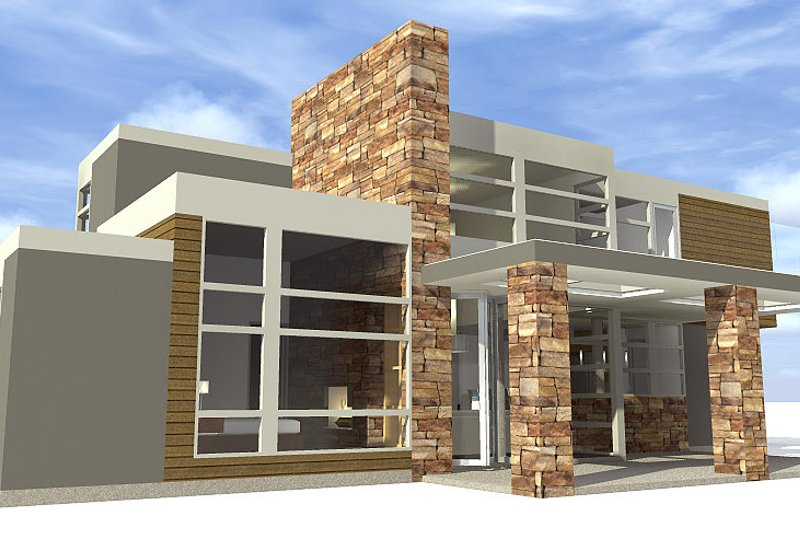 Modern Exterior - Rear Elevation Plan #64-221 - Houseplans.com