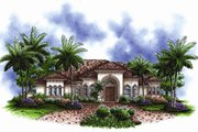 Mediterranean Style House Plan - 3 Beds 3.5 Baths 3313 Sq/Ft Plan #27-443 Exterior - Front Elevation