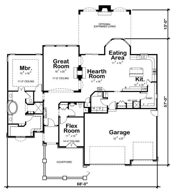 Ranch Floor Plan - Main Floor Plan Plan #20-2305