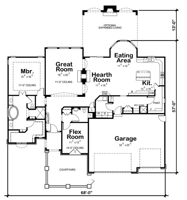 Home Plan Design - Ranch Floor Plan - Main Floor Plan #20-2305