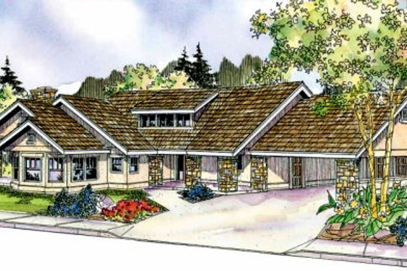 Ranch Exterior - Front Elevation Plan #124-705