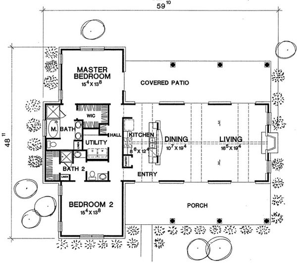 Country Style House Plan - 2 Beds 2 Baths 1588 Sq/Ft Plan #472-11 Floor Plan - Main Floor Plan