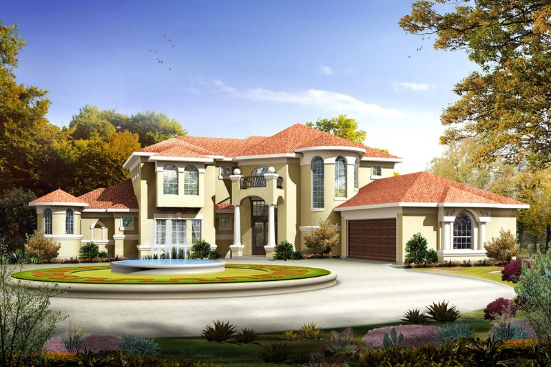Mediterranean Style House Plan - 4 Beds 3 Baths 3639 Sq/Ft Plan #80-127 Exterior - Front Elevation