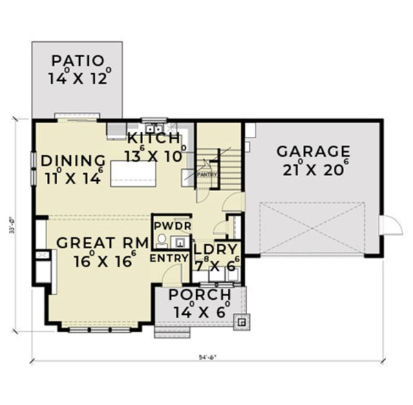 Farmhouse Floor Plan - Main Floor Plan Plan #1070-1