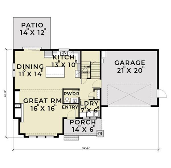 Dream House Plan - Farmhouse Floor Plan - Main Floor Plan #1070-1