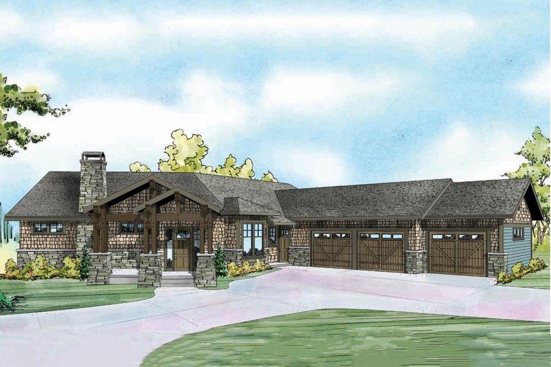 Craftsman Exterior - Front Elevation Plan #124-913