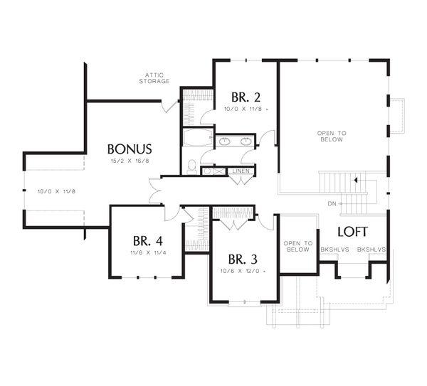 Craftsman Floor Plan - Upper Floor Plan Plan #48-632