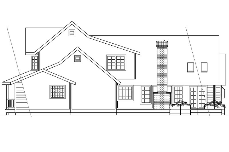 Country Exterior - Rear Elevation Plan #124-173 - Houseplans.com