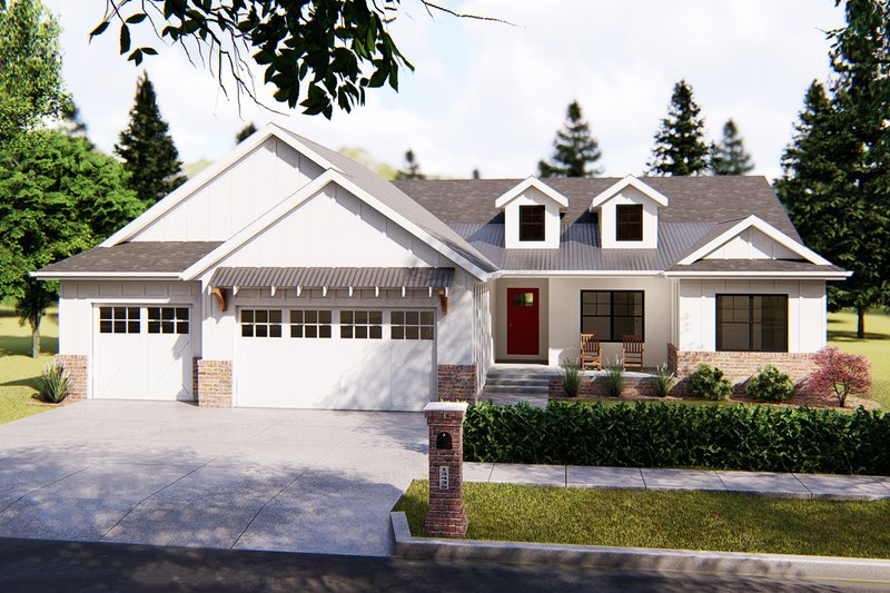 Farmhouse Style House Plan - 3 Beds 2.5 Baths 1906 Sq/Ft Plan #455-222 Exterior - Front Elevation