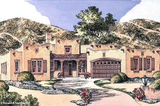 Adobe / Southwestern Exterior - Front Elevation Plan #929-683