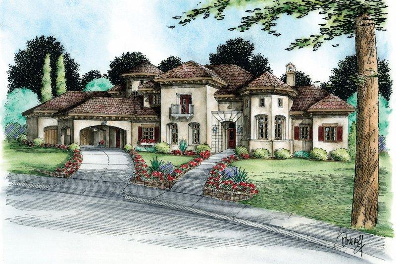 Dream House Plan - Mediterranean Exterior - Front Elevation Plan #20-2166