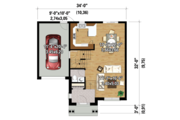 Traditional Style House Plan - 3 Beds 1 Baths 1592 Sq/Ft Plan #25-4423 Floor Plan - Main Floor Plan