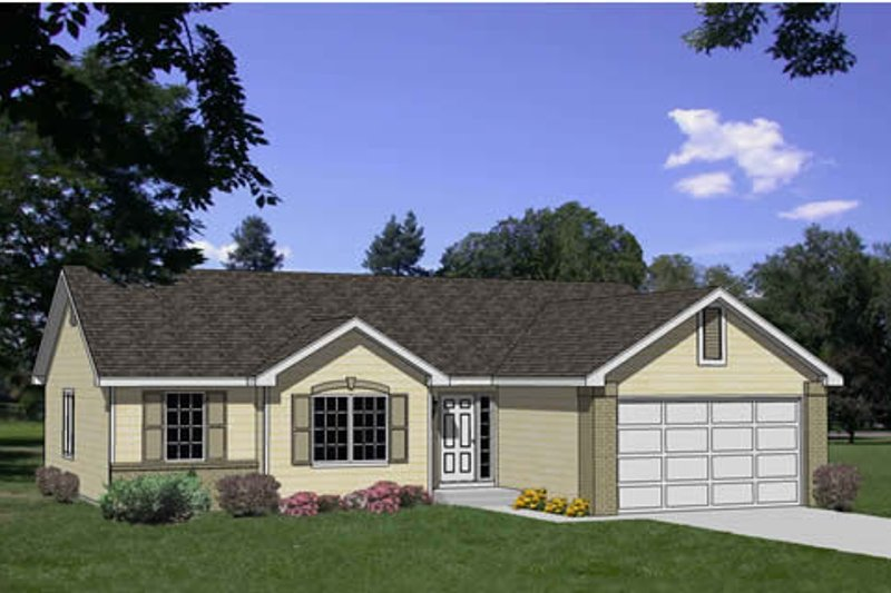 Ranch Style House Plan - 3 Beds 2 Baths 1276 Sq/Ft Plan #116-173 Exterior - Front Elevation