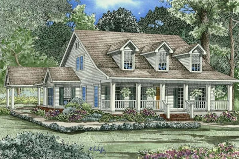 Southern Style House Plan - 4 Beds 3 Baths 2186 Sq/Ft Plan #17-1026 Exterior - Front Elevation