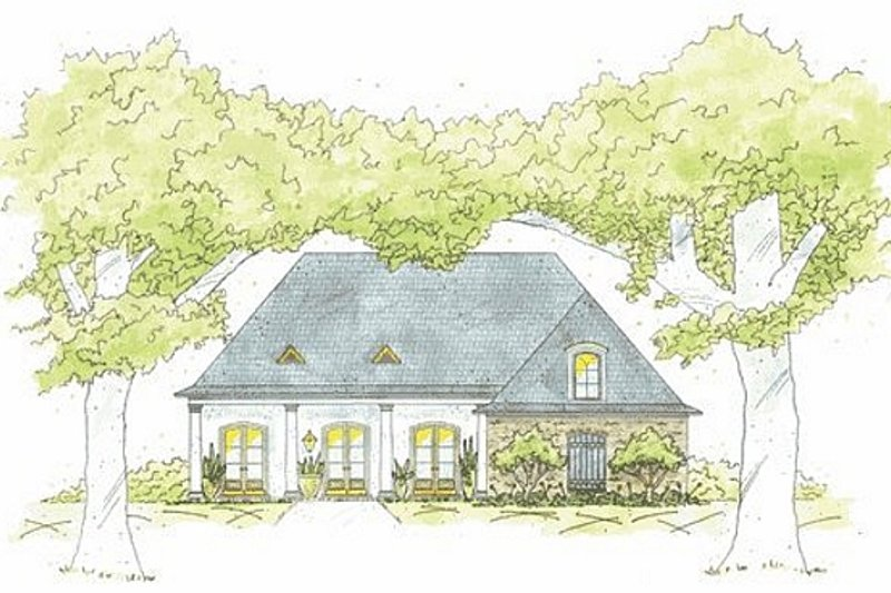 Southern Exterior - Front Elevation Plan #36-426