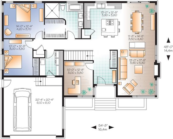 Contemporary houseplan urban design floor plan
