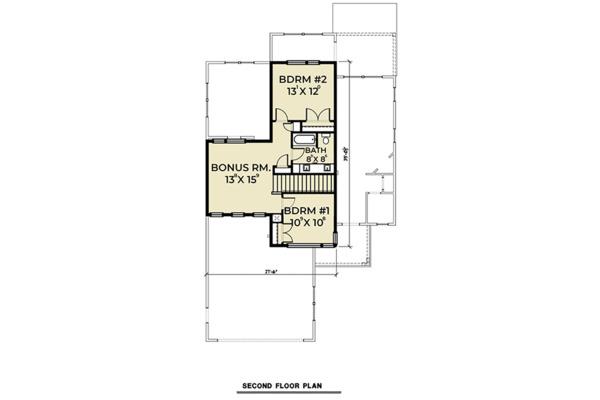 Contemporary Floor Plan - Upper Floor Plan Plan #1070-30