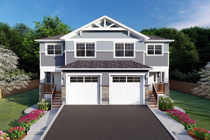 Architectural House Design - Craftsman Exterior - Front Elevation Plan #126-197