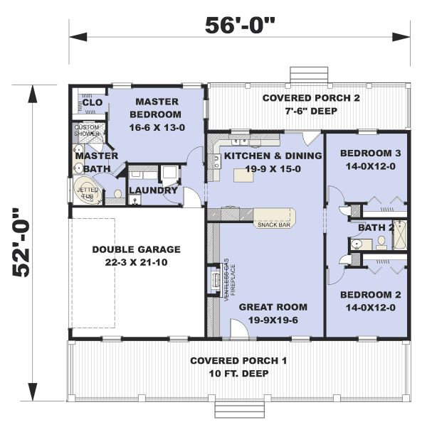 Architectural House Design - Traditional Floor Plan - Main Floor Plan #44-236