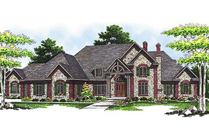 European Style House Plan - 5 Beds 5.5 Baths 6571 Sq/Ft Plan #70-559 Exterior - Front Elevation