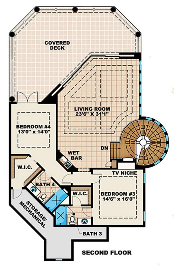Mediterranean Floor Plan - Upper Floor Plan Plan #27-391