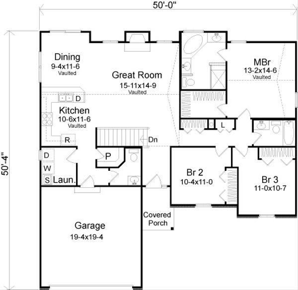 House Plan Design - Traditional Floor Plan - Main Floor Plan #22-521