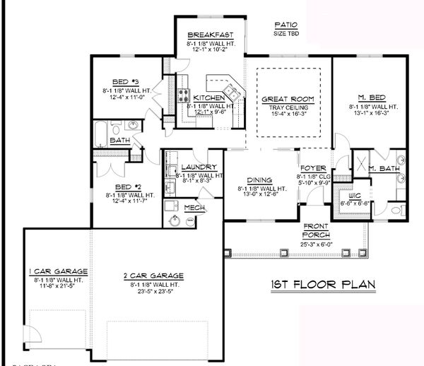 Dream House Plan - Ranch Floor Plan - Main Floor Plan #1064-88