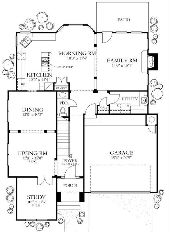 House Plan Design - Mediterranean Floor Plan - Main Floor Plan #80-153