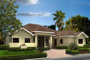 Mediterranean Style House Plan - 4 Beds 3.5 Baths 3224 Sq/Ft Plan #420-278 Exterior - Front Elevation