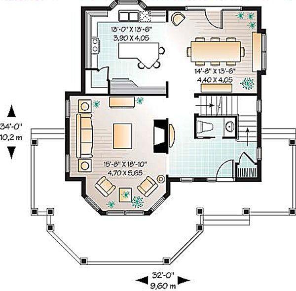 Country Floor Plan - Main Floor Plan Plan #23-549