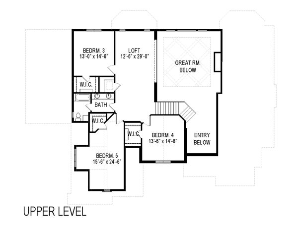 Traditional Floor Plan - Upper Floor Plan Plan #920-44