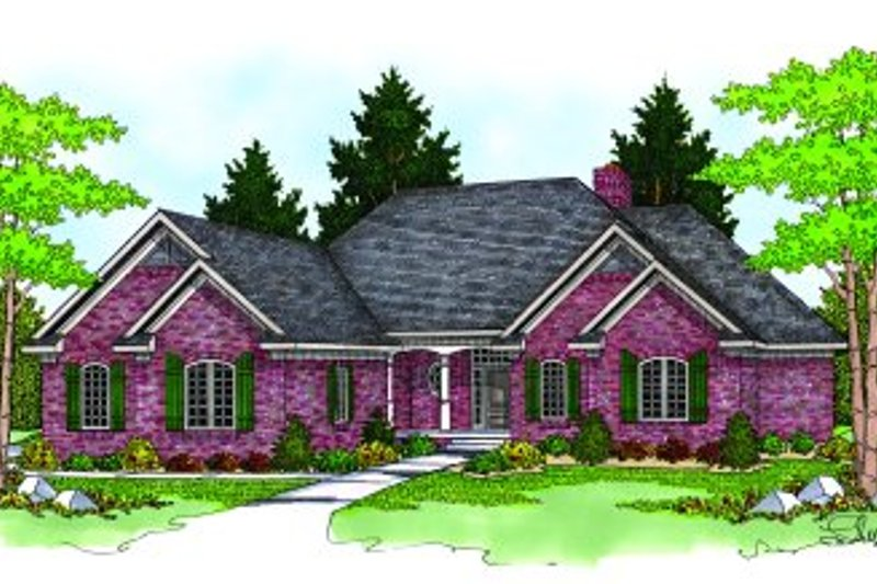 Traditional Style House Plan - 3 Beds 4.5 Baths 4303 Sq/Ft Plan #70-425 Exterior - Front Elevation