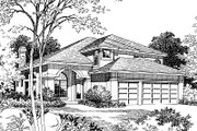 European Style House Plan - 4 Beds 2.5 Baths 2519 Sq/Ft Plan #417-279 Exterior - Front Elevation