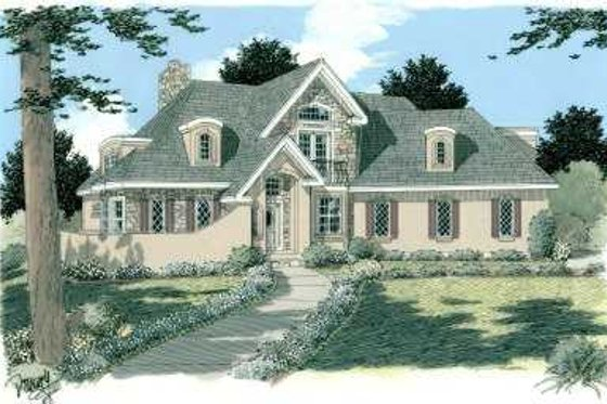European Exterior - Front Elevation Plan #75-113