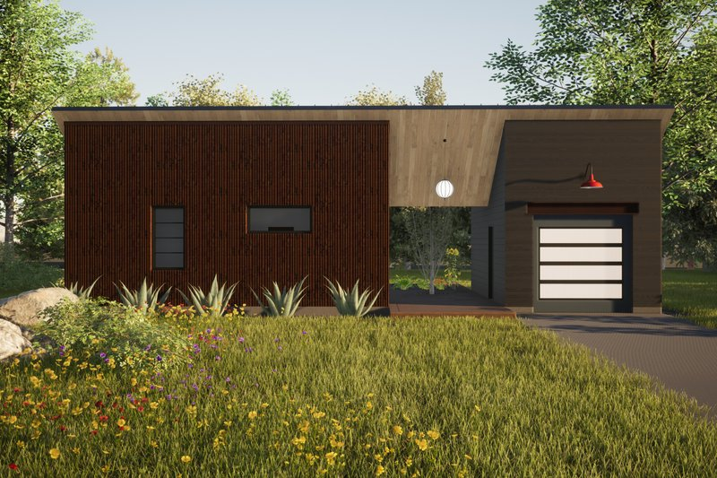 Modern Style House Plan - 2 Beds 2 Baths 550 Sq/Ft Plan #933-12 Exterior - Front Elevation