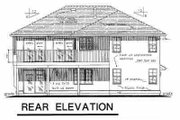 European Style House Plan - 3 Beds 2 Baths 1256 Sq/Ft Plan #18-214 Exterior - Rear Elevation