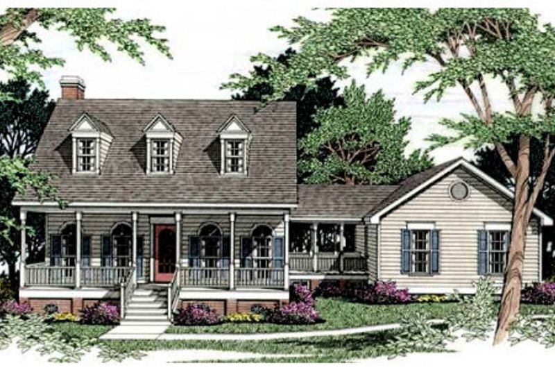 Country Style House Plan - 3 Beds 2.5 Baths 1887 Sq/Ft Plan #406-164 Exterior - Front Elevation
