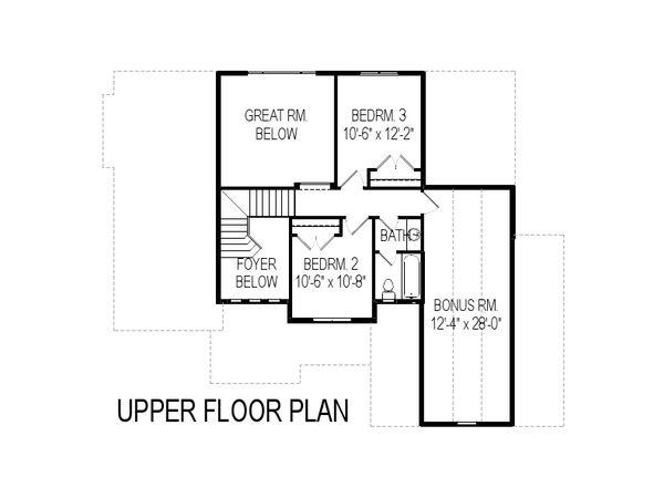 Traditional Floor Plan - Upper Floor Plan Plan #920-11