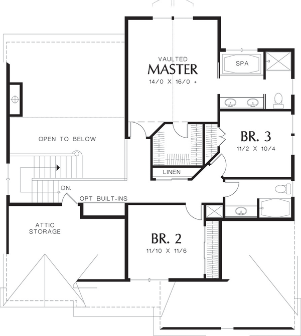 Craftsman Floor Plan - Upper Floor Plan Plan #48-109