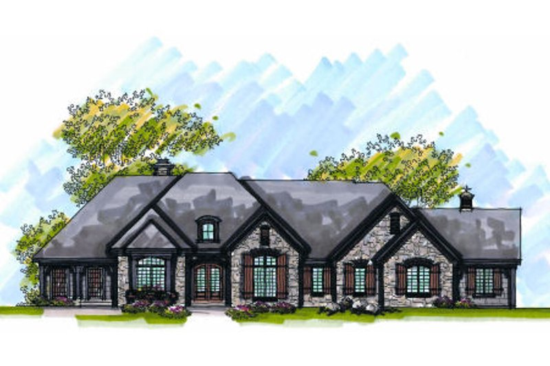 European Style House Plan - 3 Beds 2.5 Baths 3321 Sq/Ft Plan #70-1001 Exterior - Front Elevation