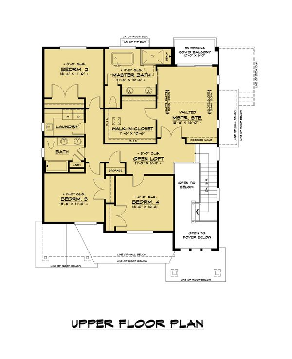 Craftsman Floor Plan - Upper Floor Plan #1066-114