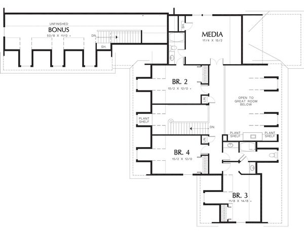 Colonial Floor Plan - Upper Floor Plan Plan #48-147
