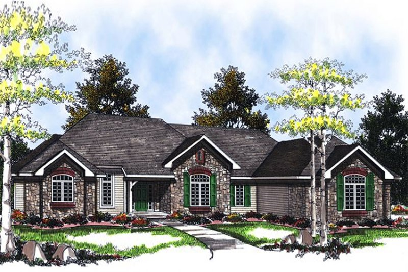 Architectural House Design - Traditional Exterior - Front Elevation Plan #70-758
