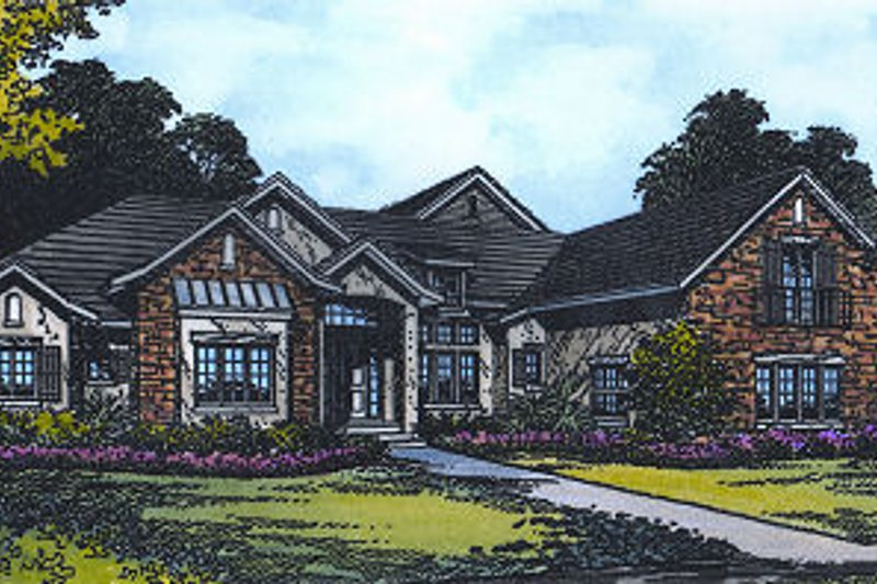 European Style House Plan - 4 Beds 3 Baths 3818 Sq/Ft Plan #417-408 Exterior - Front Elevation
