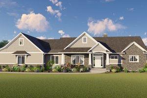 Ranch Exterior - Front Elevation Plan #1064-31